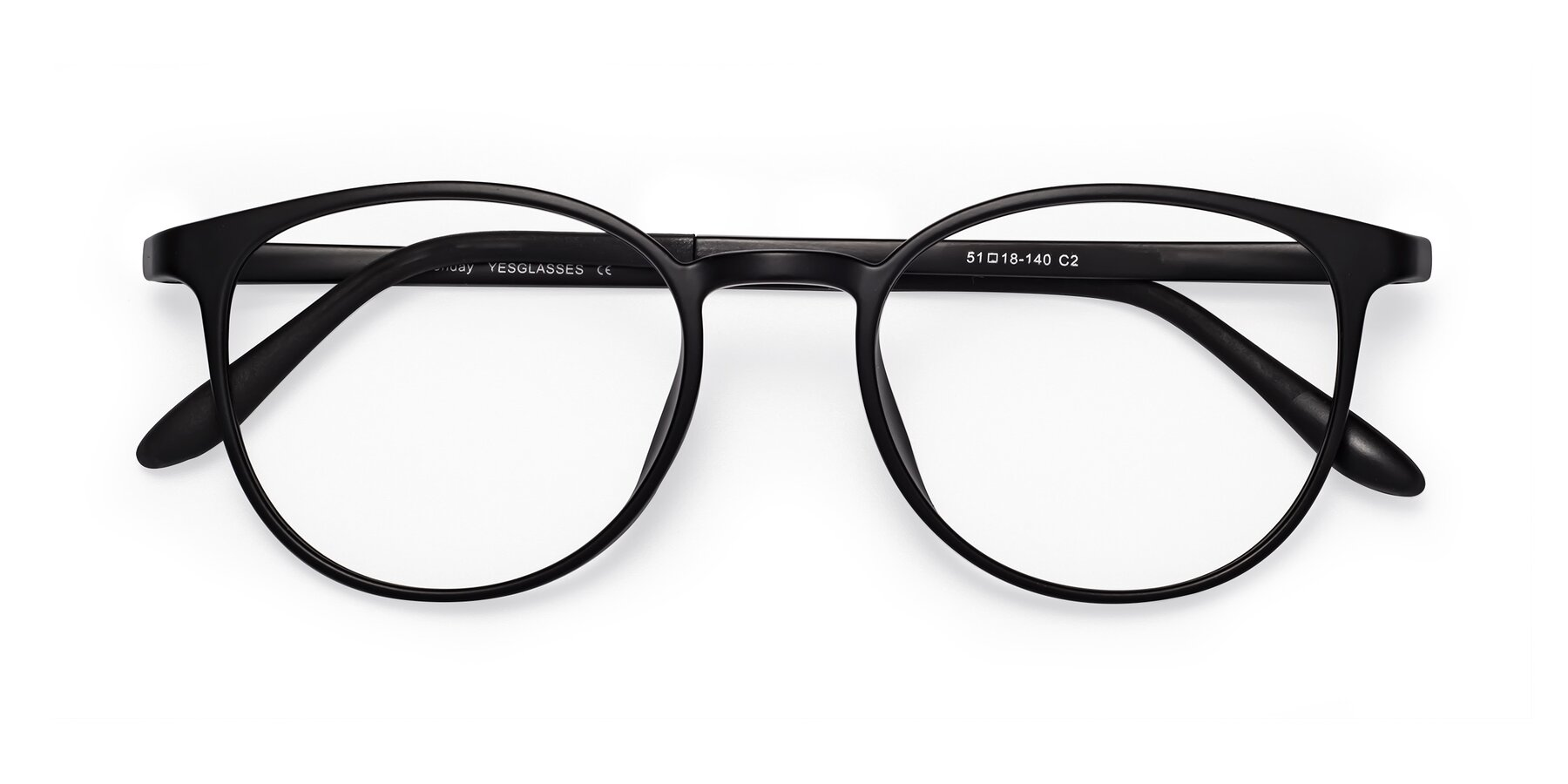 Folded Front of Monday in Matte Black with Clear Eyeglass Lenses