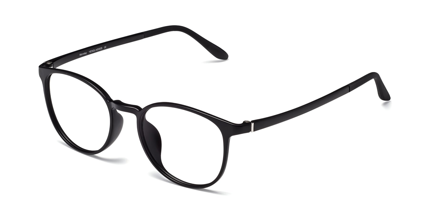 Angle of Monday in Matte Black with Clear Eyeglass Lenses