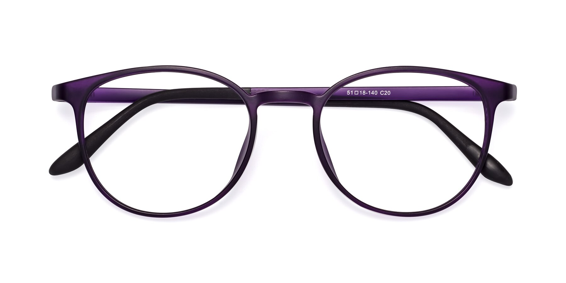 Folded Front of Monday in Translucent Purple with Clear Eyeglass Lenses