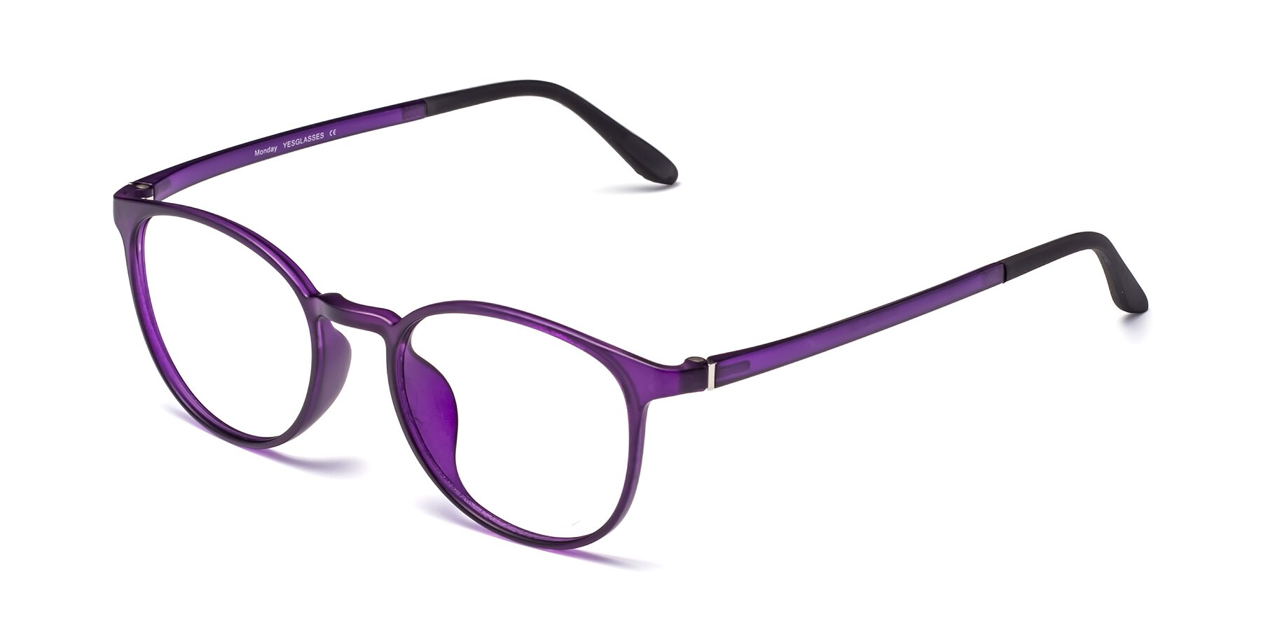 Angle of Monday in Translucent Purple with Clear Eyeglass Lenses