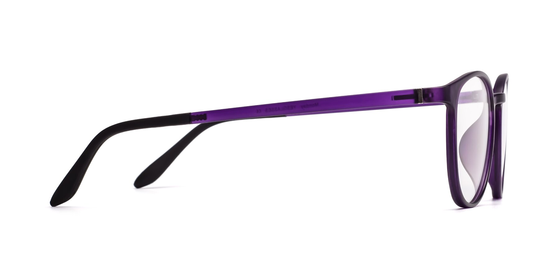 Side of Monday in Translucent Purple with Clear Eyeglass Lenses