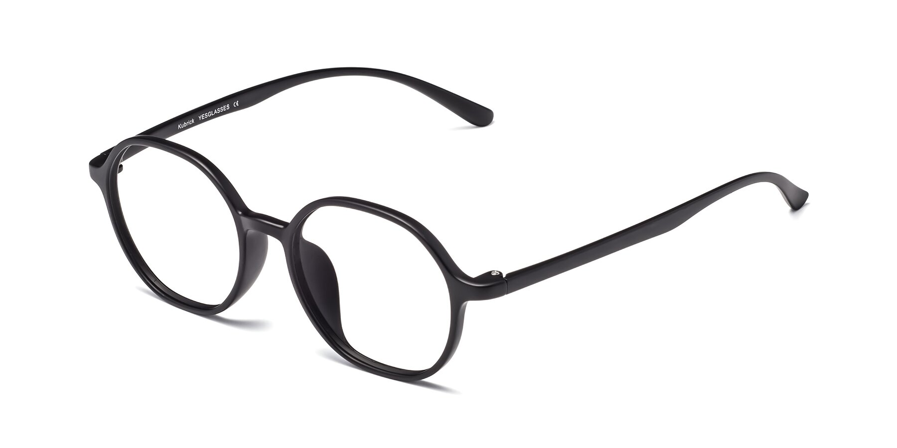Angle of Kubrick in Matte Black with Clear Blue Light Blocking Lenses