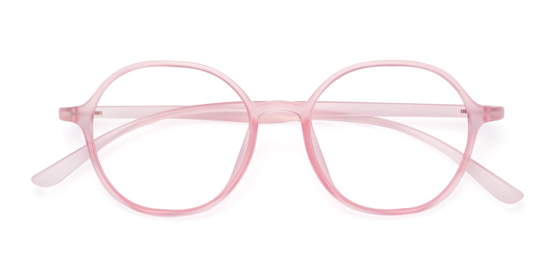 Folded Front of Kubrick in Translucent Pink with Clear Blue Light Blocking Lenses