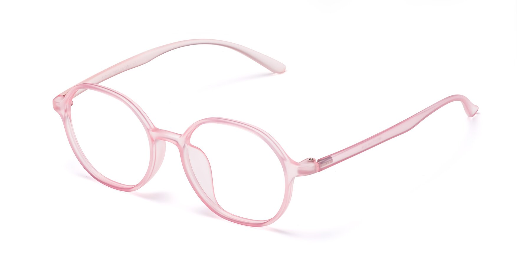 Angle of Kubrick in Translucent Pink with Clear Blue Light Blocking Lenses