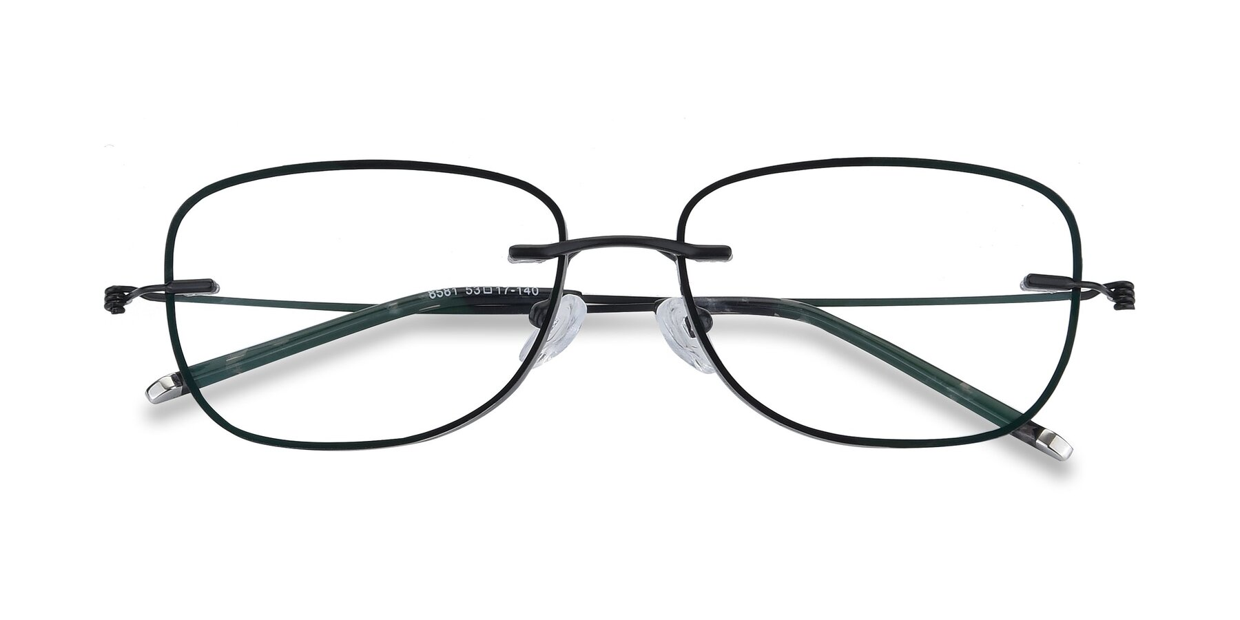 Folded Front of Y7002 in Black-Gun with Clear Blue Light Blocking Lenses