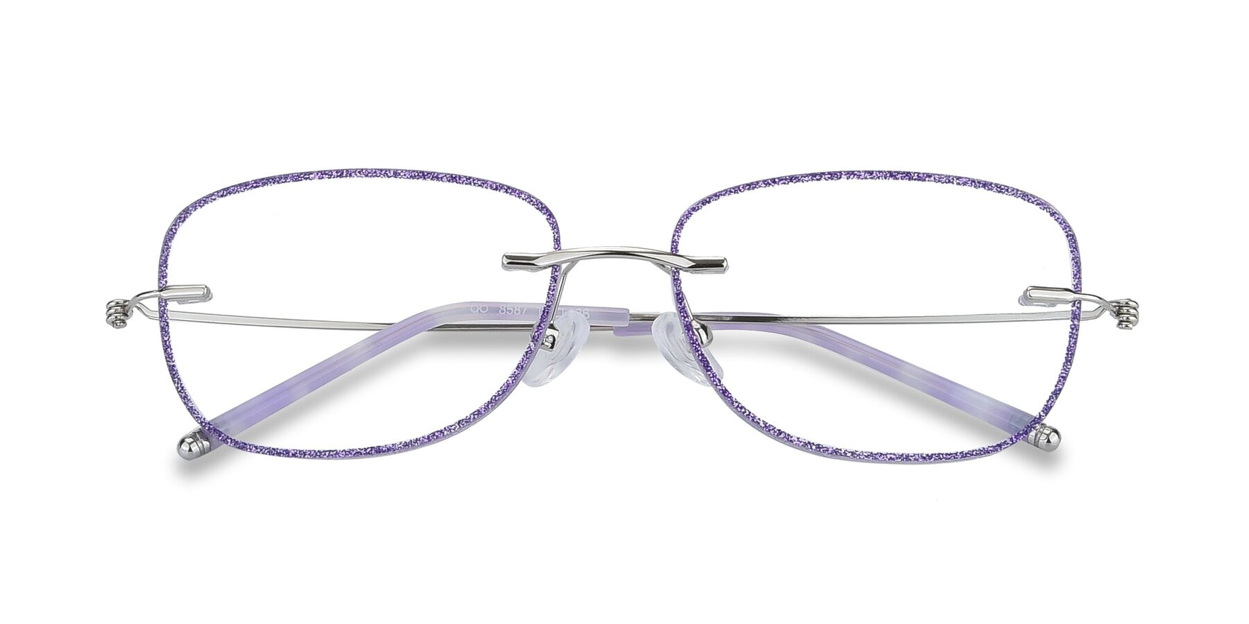Folded Front of Y7002 in Purple-Silver with Clear Blue Light Blocking Lenses