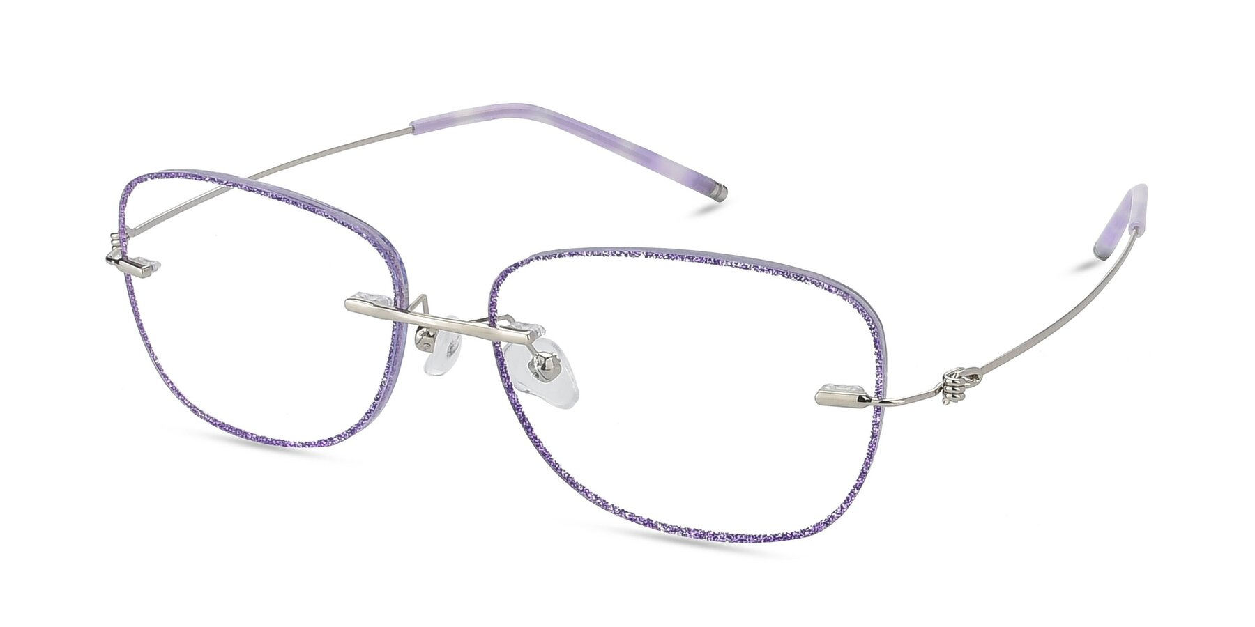 Angle of Y7002 in Purple-Silver with Clear Blue Light Blocking Lenses