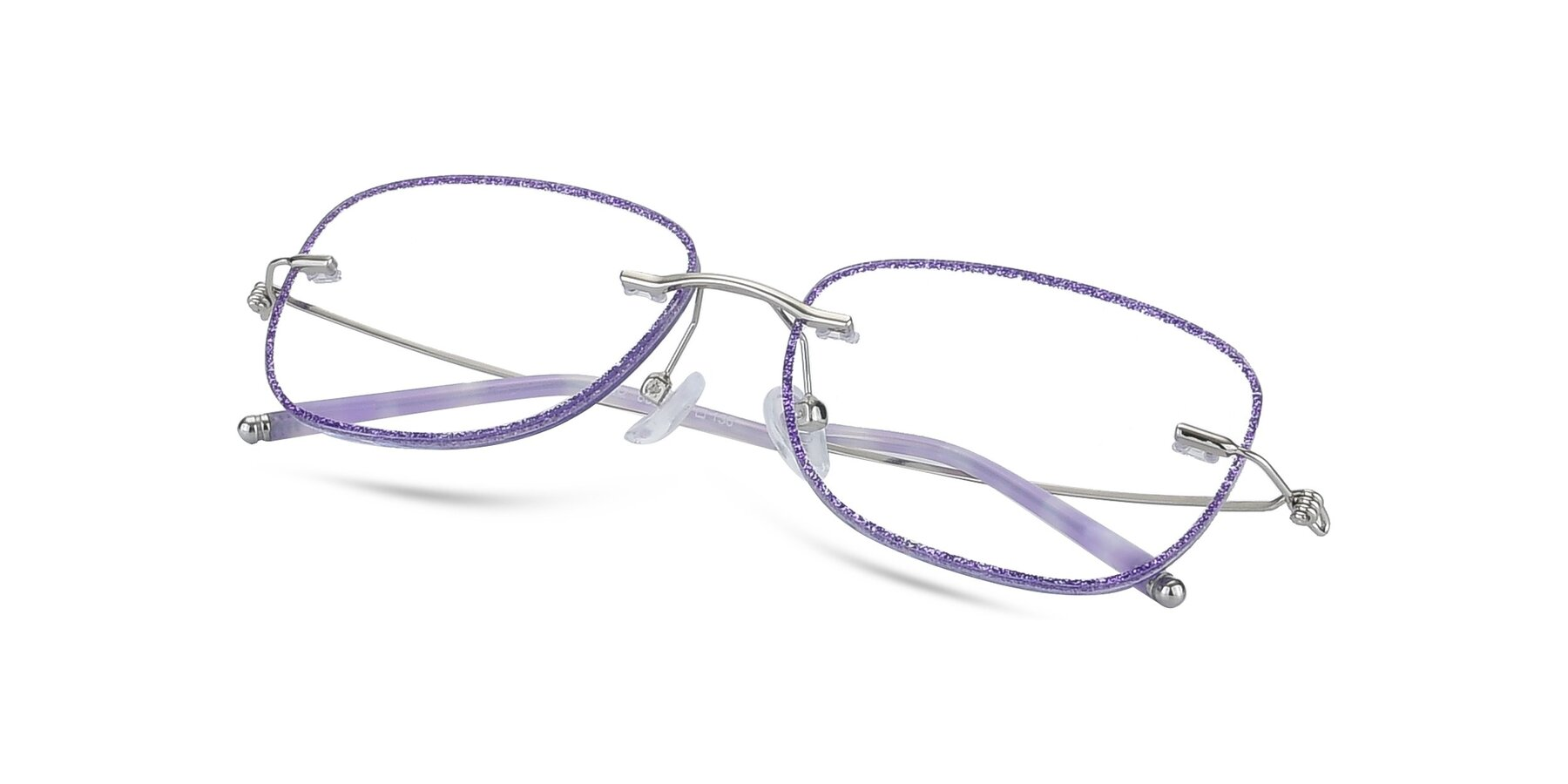 View of Y7002 in Purple-Silver with Clear Blue Light Blocking Lenses