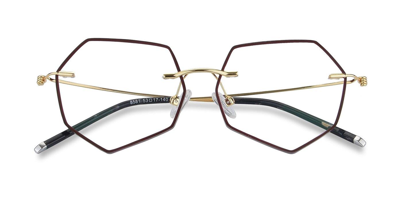 Y7003 - Dark Red / Gold Eyeglasses