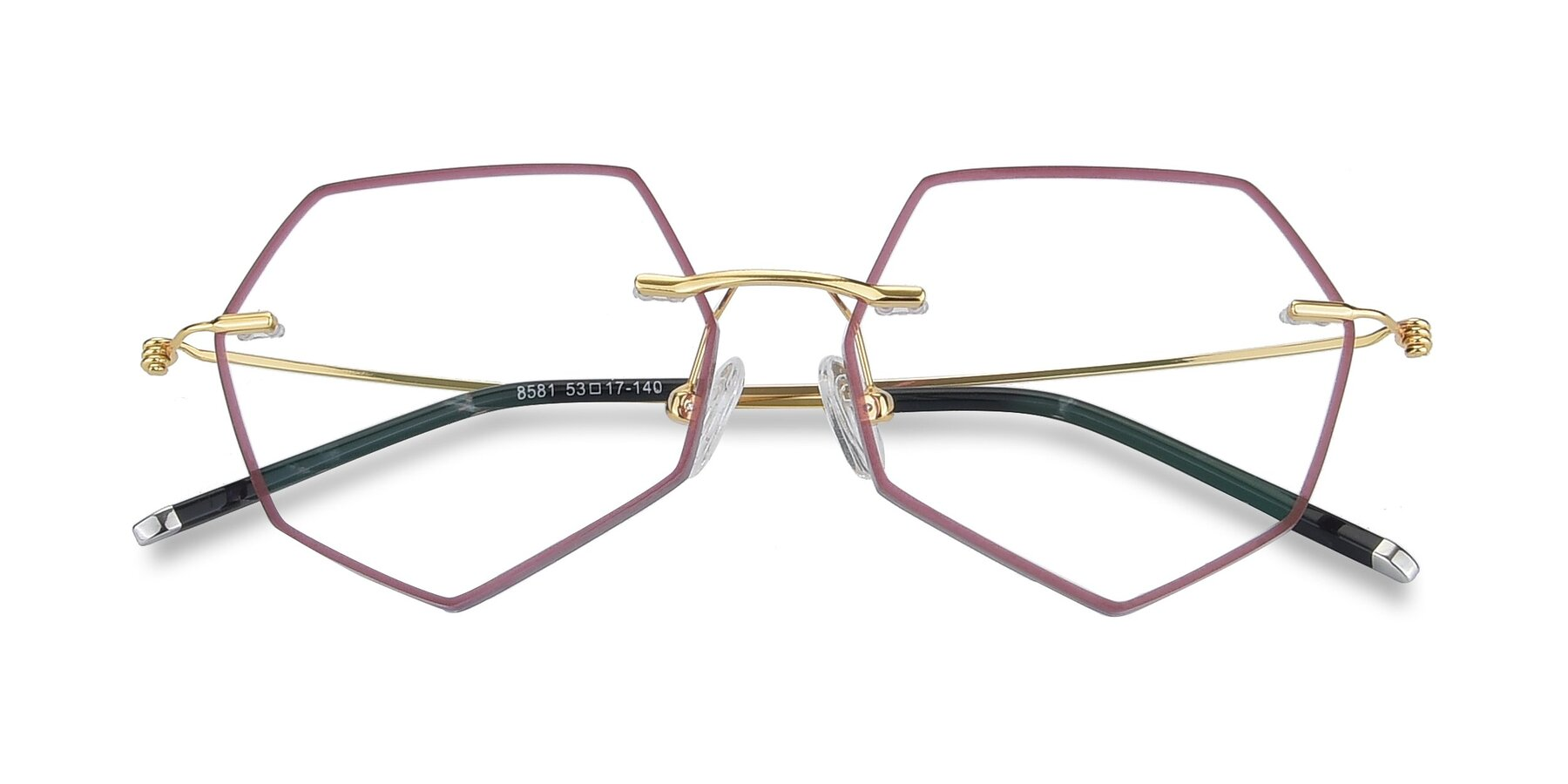 Folded Front of Y7003 in Wine-Gold with Clear Blue Light Blocking Lenses