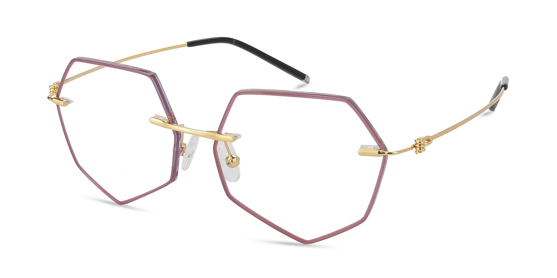 Angle of Y7003 in Wine-Gold with Clear Blue Light Blocking Lenses