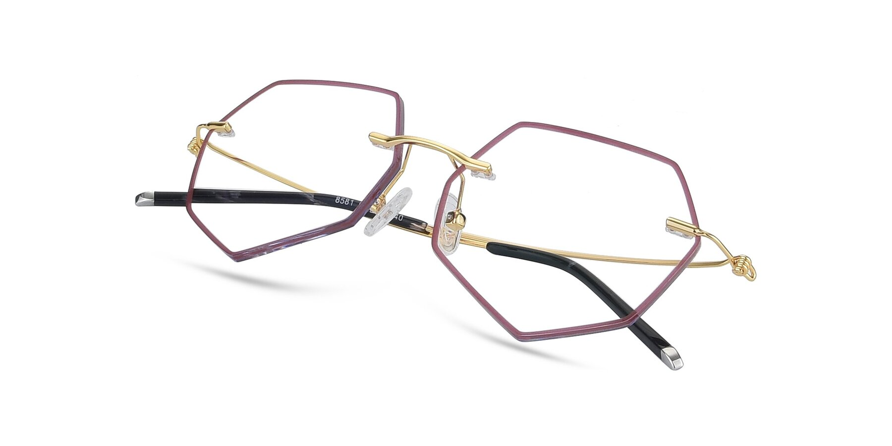 View of Y7003 in Wine-Gold with Clear Blue Light Blocking Lenses