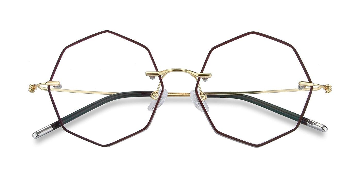 Y7004 - Dark Red / Gold Eyeglasses