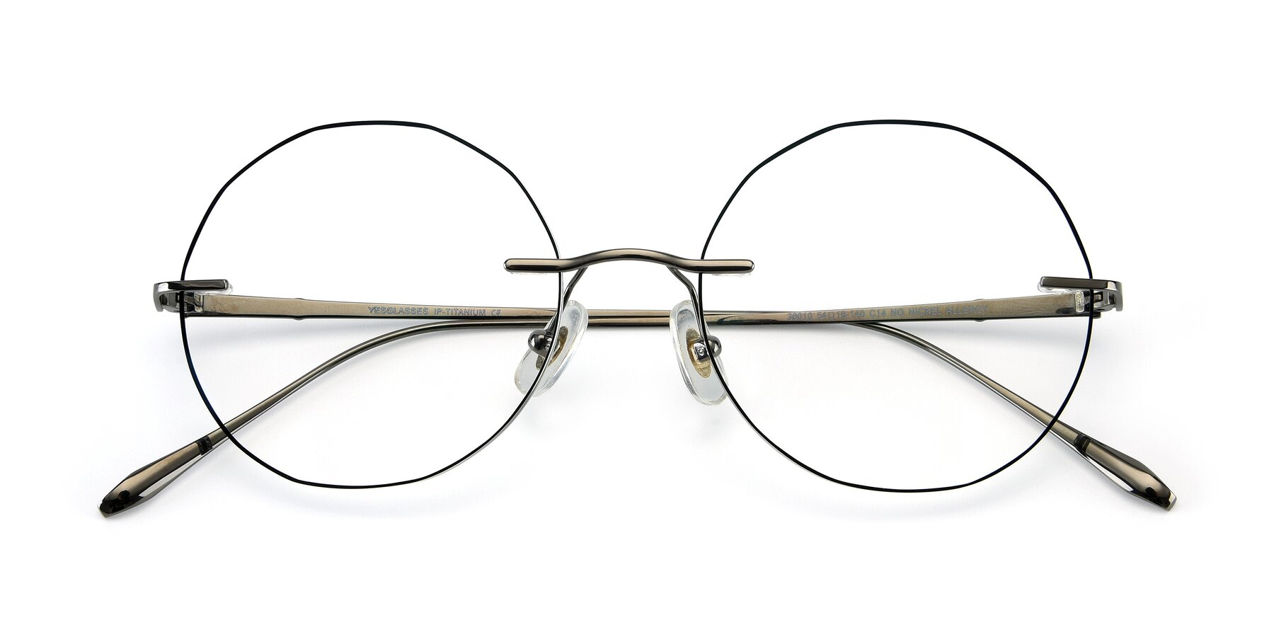 Folded Front of Y7007 in Gun-Black with Clear Eyeglass Lenses