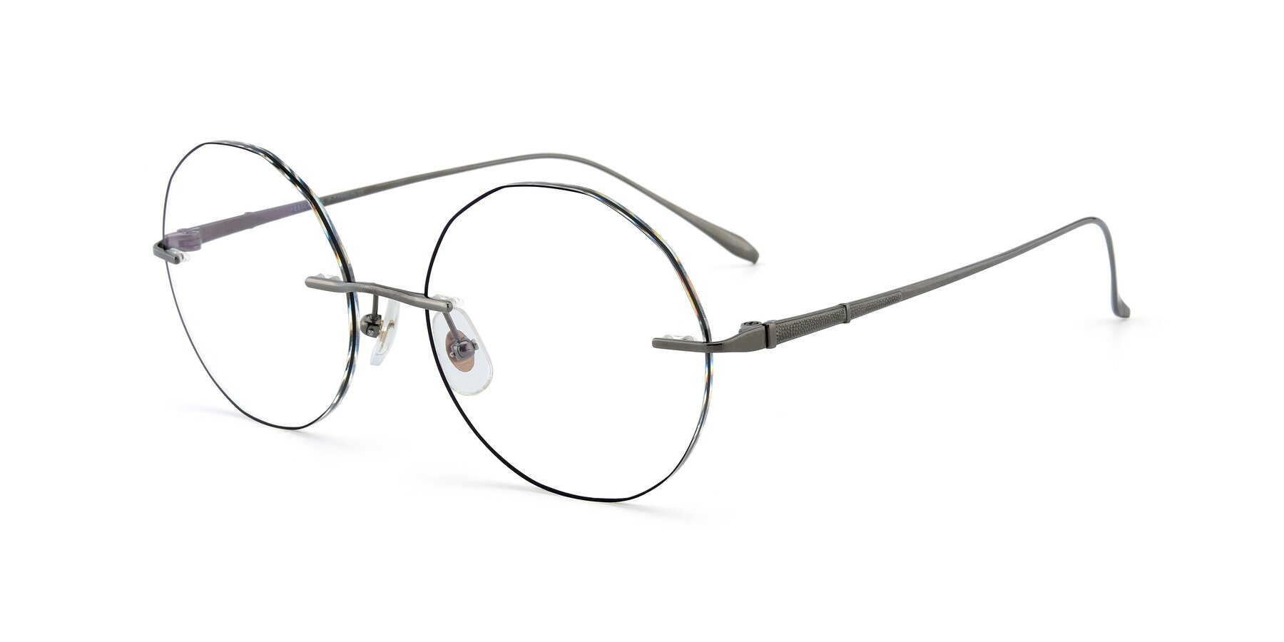 Angle of Y7007 in Gun-Black with Clear Eyeglass Lenses