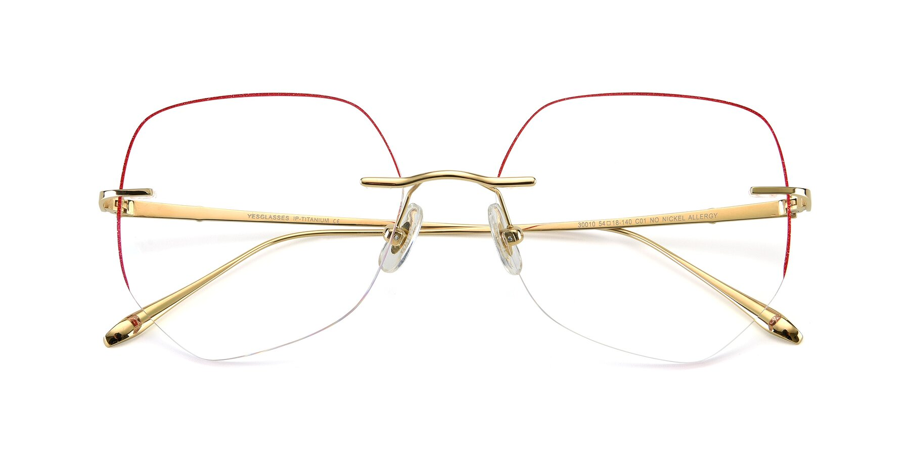 Folded Front of Y7008 in Gold-Red with Clear Blue Light Blocking Lenses