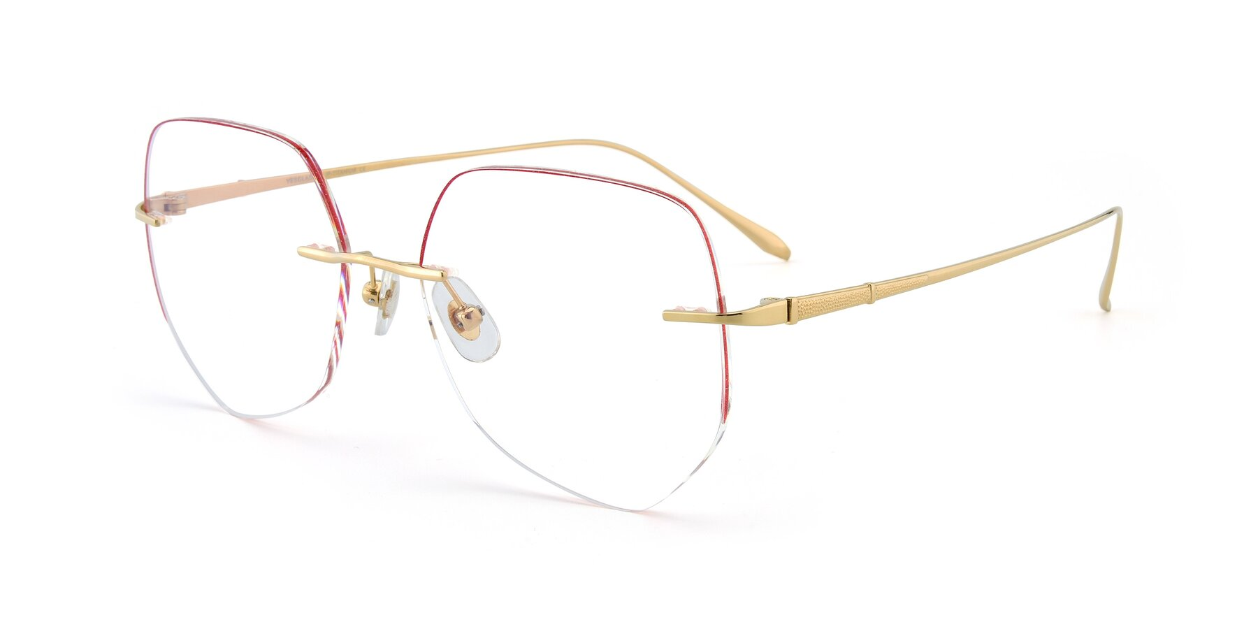 Angle of Y7008 in Gold-Red with Clear Blue Light Blocking Lenses