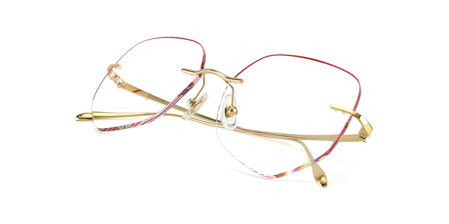 View of Y7008 in Gold-Red with Clear Blue Light Blocking Lenses
