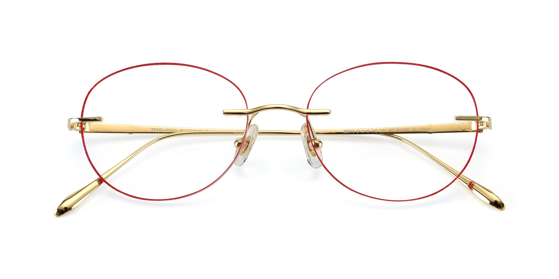 Folded Front of Y7009 in Gold-Red with Clear Blue Light Blocking Lenses