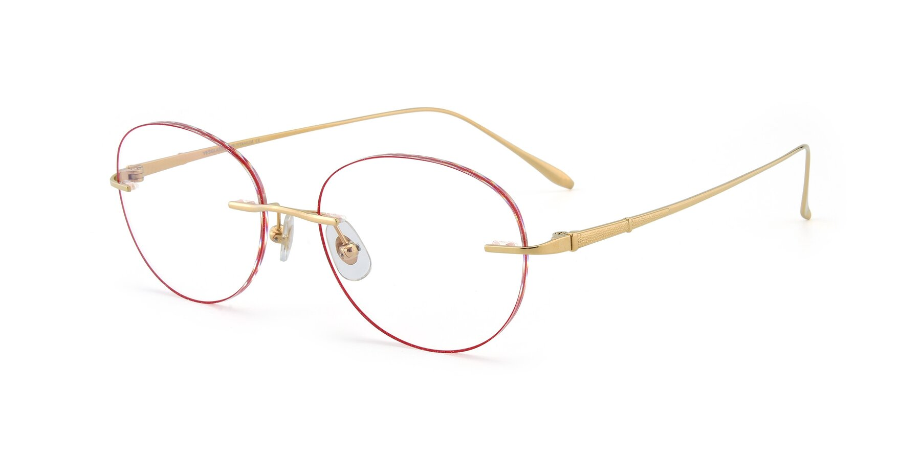 Angle of Y7009 in Gold-Red with Clear Blue Light Blocking Lenses