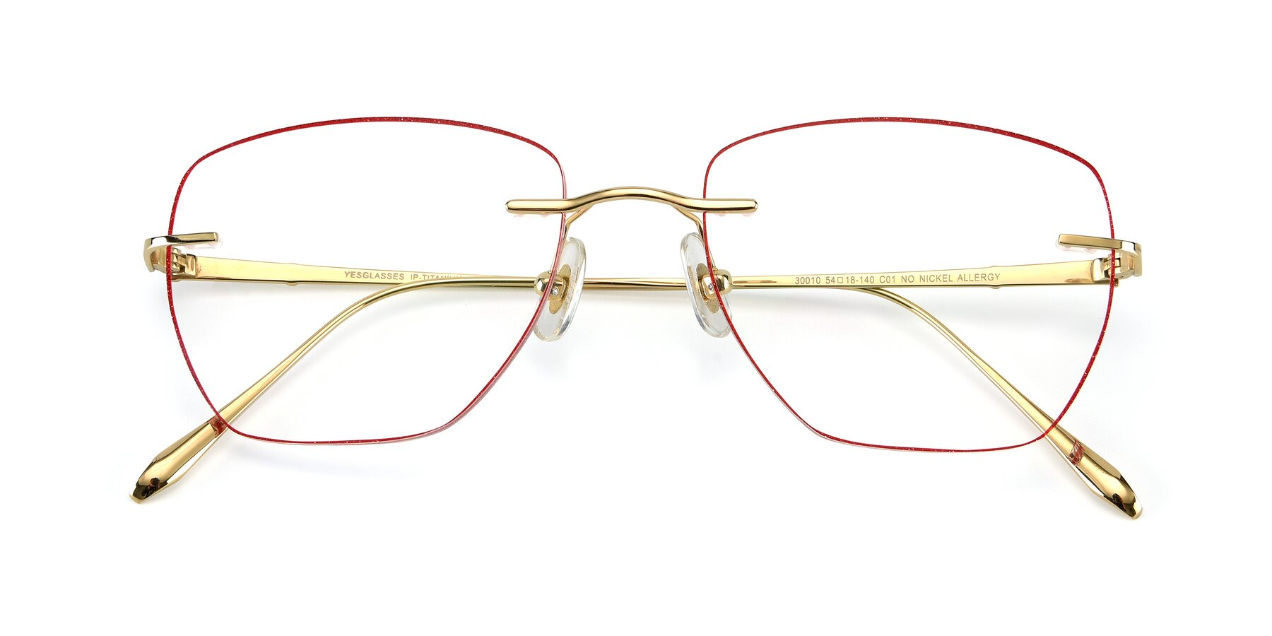 Folded Front of Y7011 in Gold-Red with Clear Eyeglass Lenses