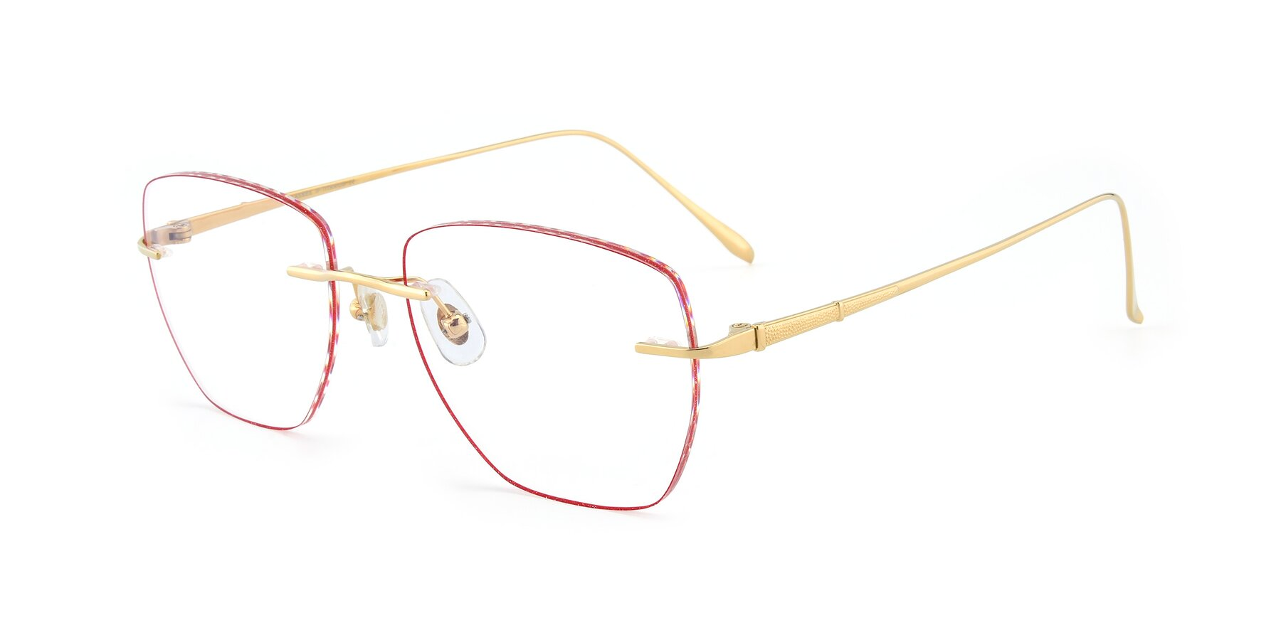 Angle of Y7011 in Gold-Red with Clear Eyeglass Lenses