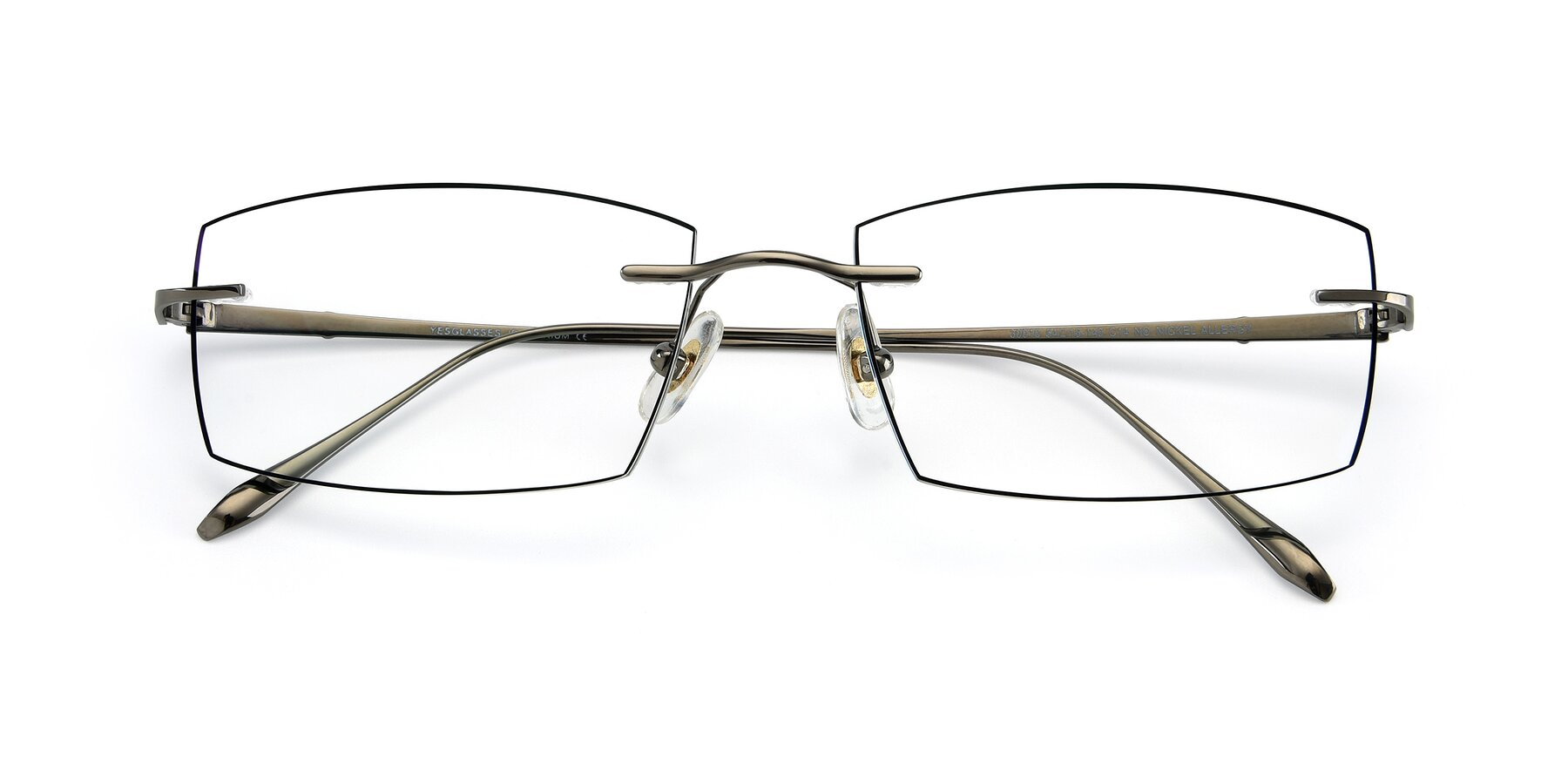 Folded Front of Y7015 in Gun-Black with Clear Eyeglass Lenses