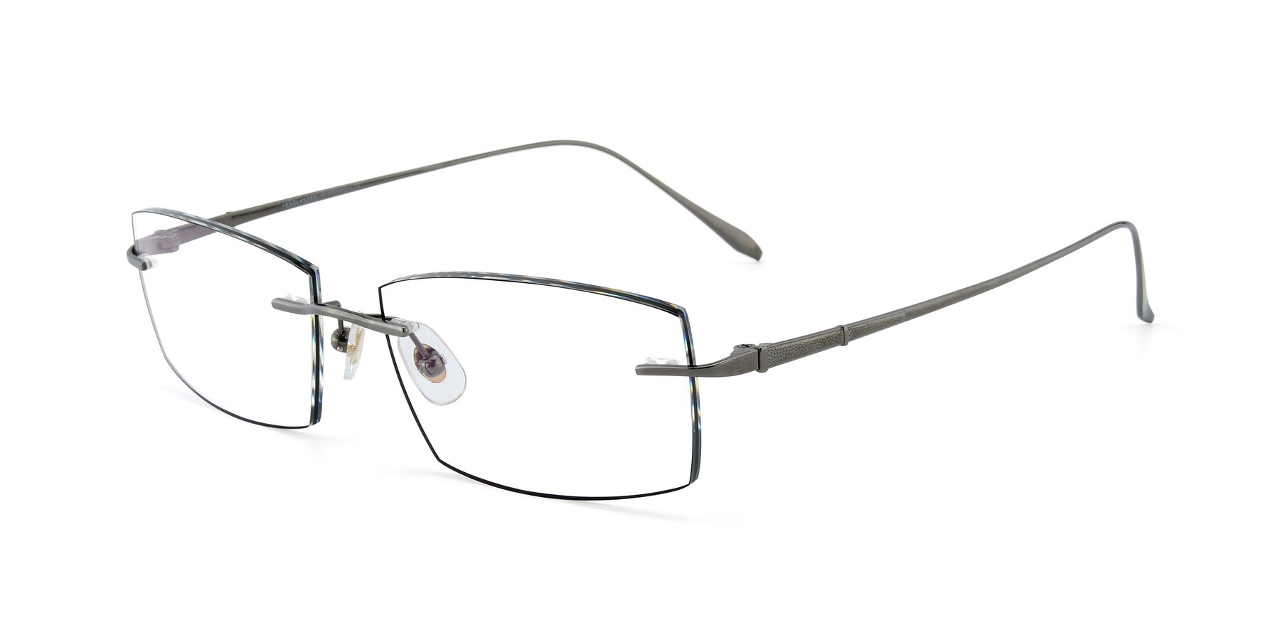 Angle of Y7015 in Gun-Black with Clear Eyeglass Lenses