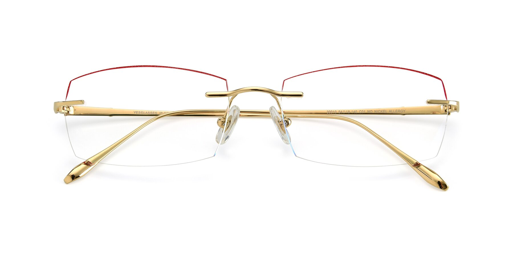 Folded Front of Y7016 in Gold-Red with Clear Blue Light Blocking Lenses