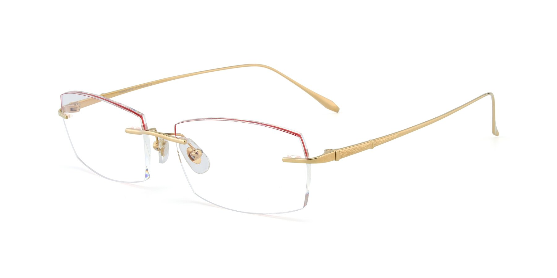 Angle of Y7016 in Gold-Red with Clear Blue Light Blocking Lenses