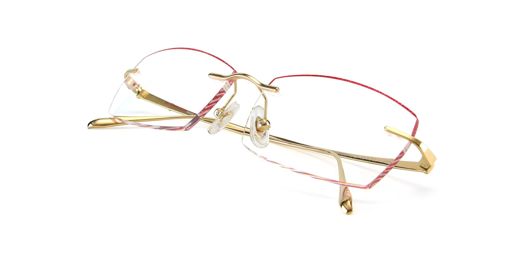 View of Y7016 in Gold-Red with Clear Blue Light Blocking Lenses
