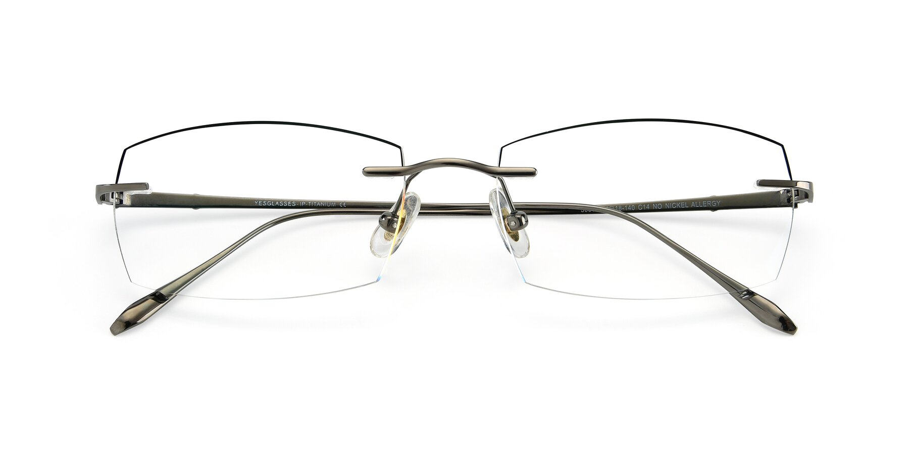 Folded Front of Y7016 in Gun-Black with Clear Blue Light Blocking Lenses