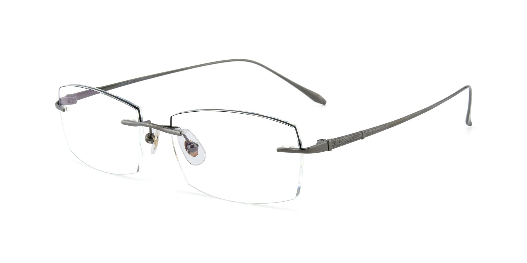 Angle of Y7016 in Gun-Black with Clear Blue Light Blocking Lenses