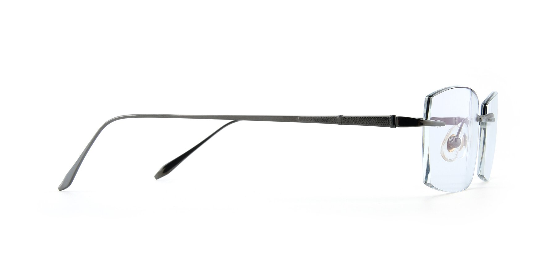 Side of Y7016 in Gun-Black with Clear Blue Light Blocking Lenses