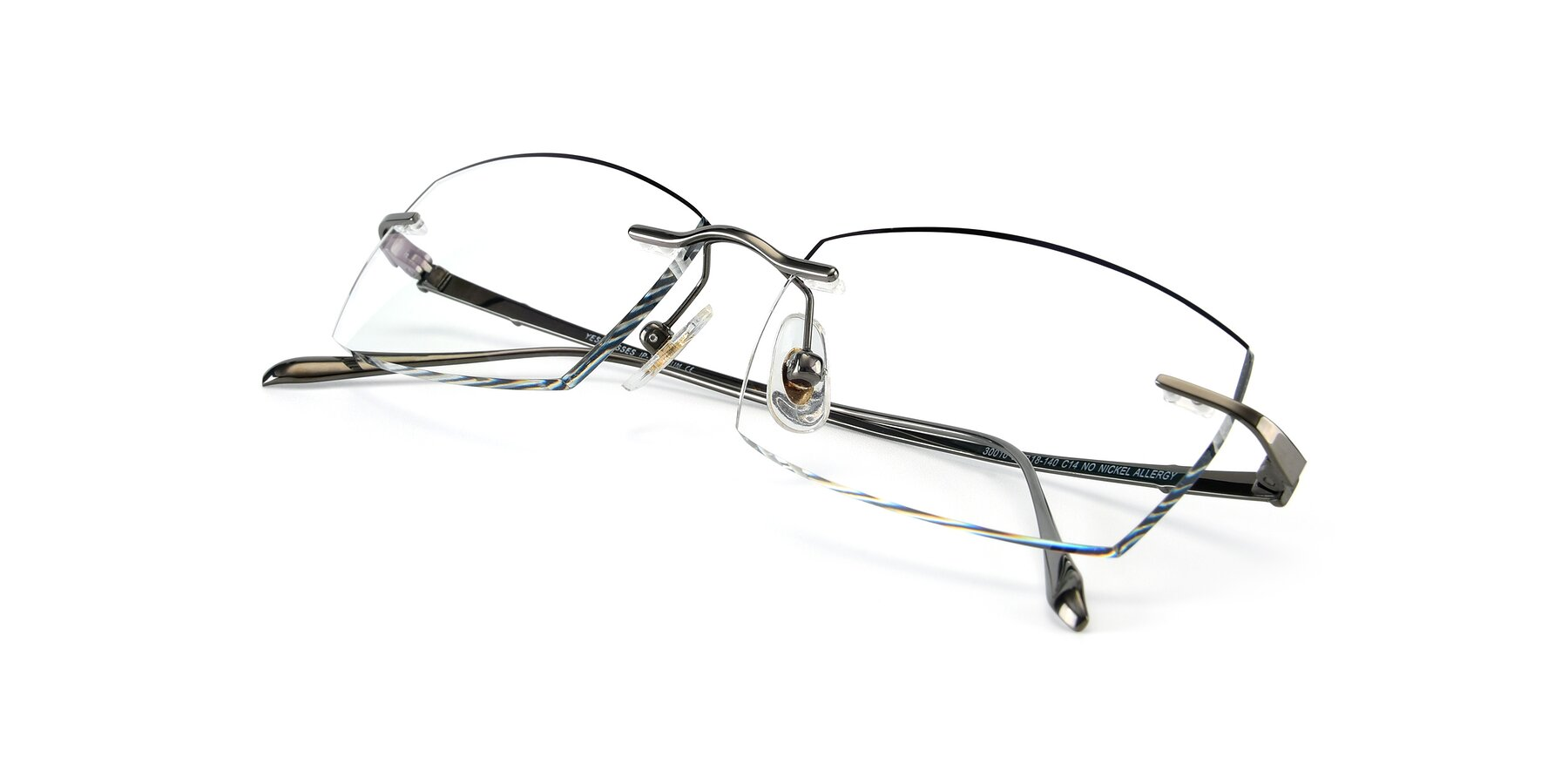 View of Y7016 in Gun-Black with Clear Blue Light Blocking Lenses