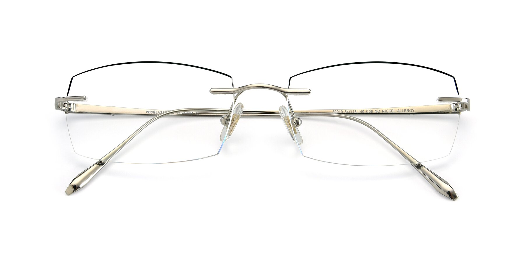 Folded Front of Y7016 in Silver-Black with Clear Blue Light Blocking Lenses