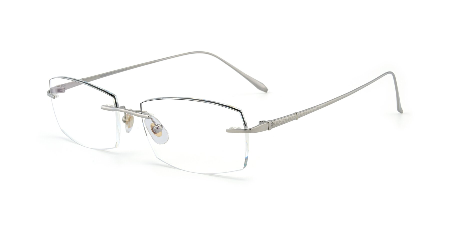 Angle of Y7016 in Silver-Black with Clear Blue Light Blocking Lenses