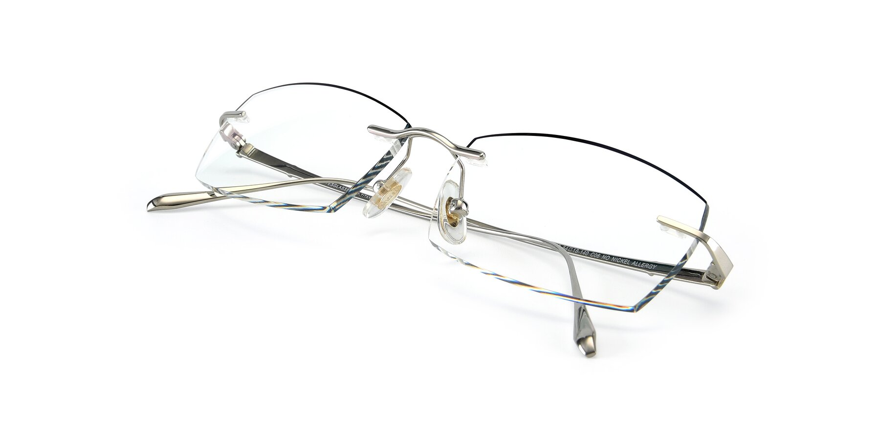 View of Y7016 in Silver-Black with Clear Blue Light Blocking Lenses