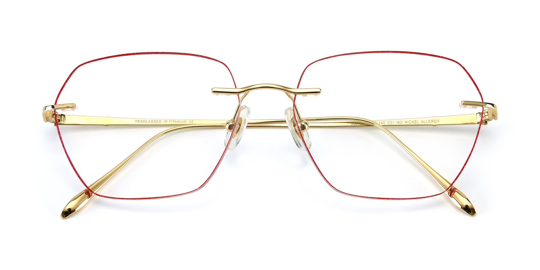 Folded Front of Y7018 in Gold-Red with Clear Eyeglass Lenses