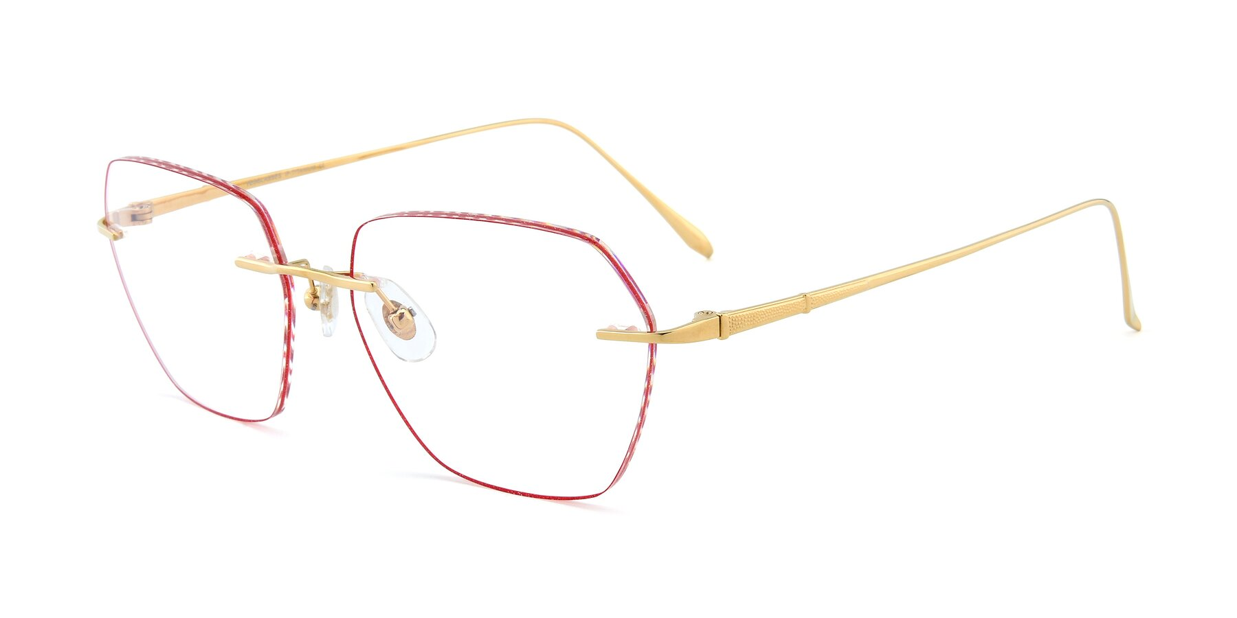 Angle of Y7018 in Gold-Red with Clear Eyeglass Lenses