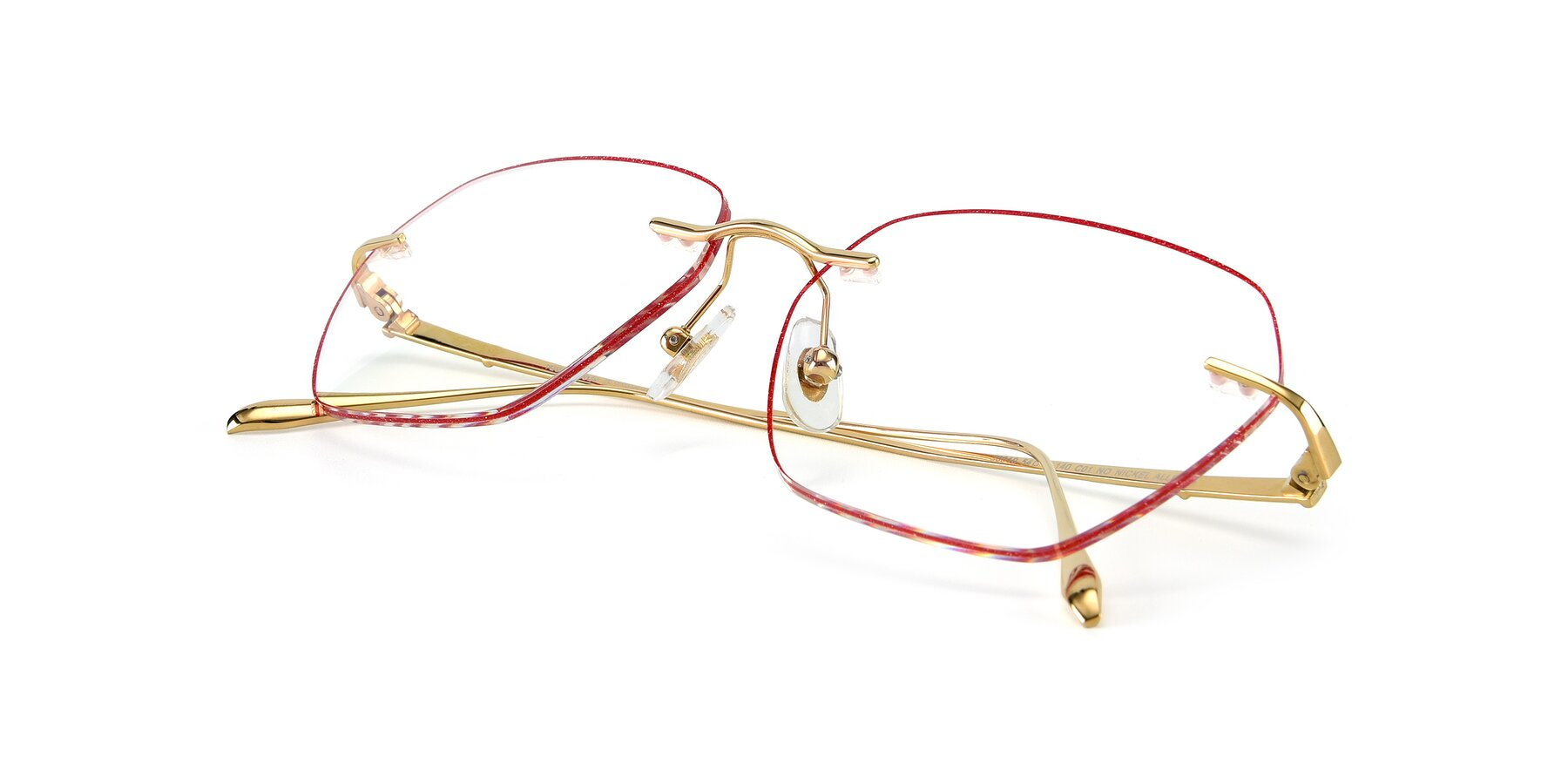 View of Y7018 in Gold-Red with Clear Eyeglass Lenses