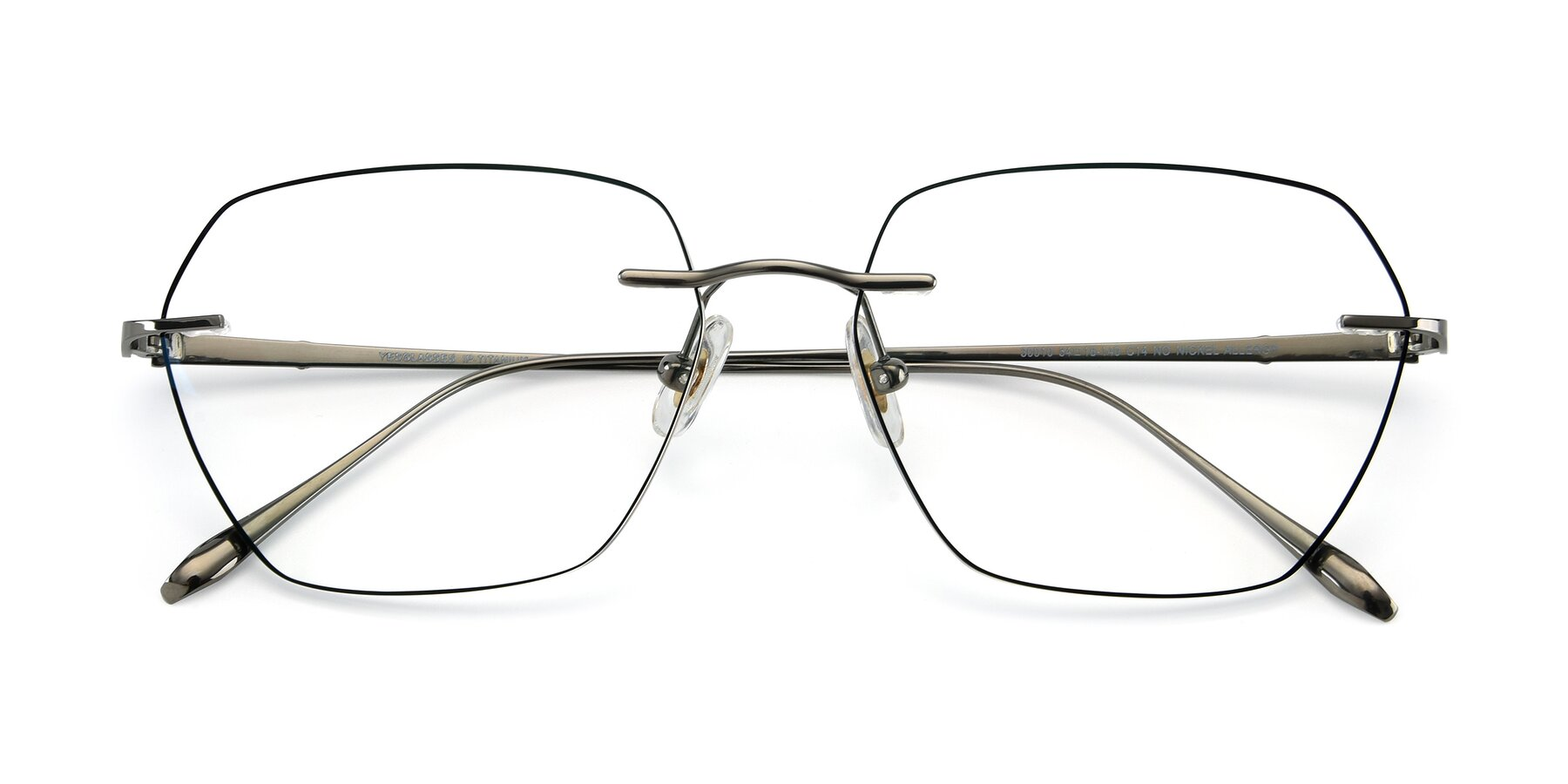 Folded Front of Y7018 in Gun-Black with Clear Eyeglass Lenses