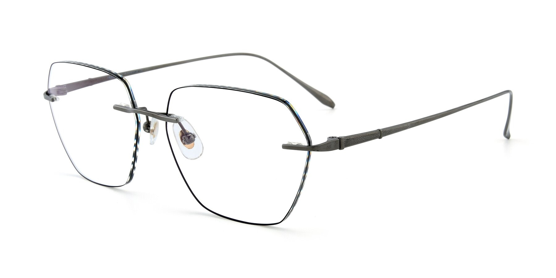 Angle of Y7018 in Gun-Black with Clear Eyeglass Lenses