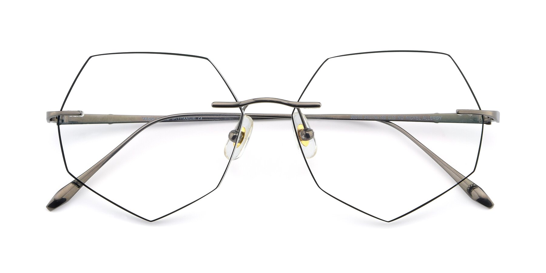 Folded Front of Y7019 in Gun-Black with Clear Eyeglass Lenses