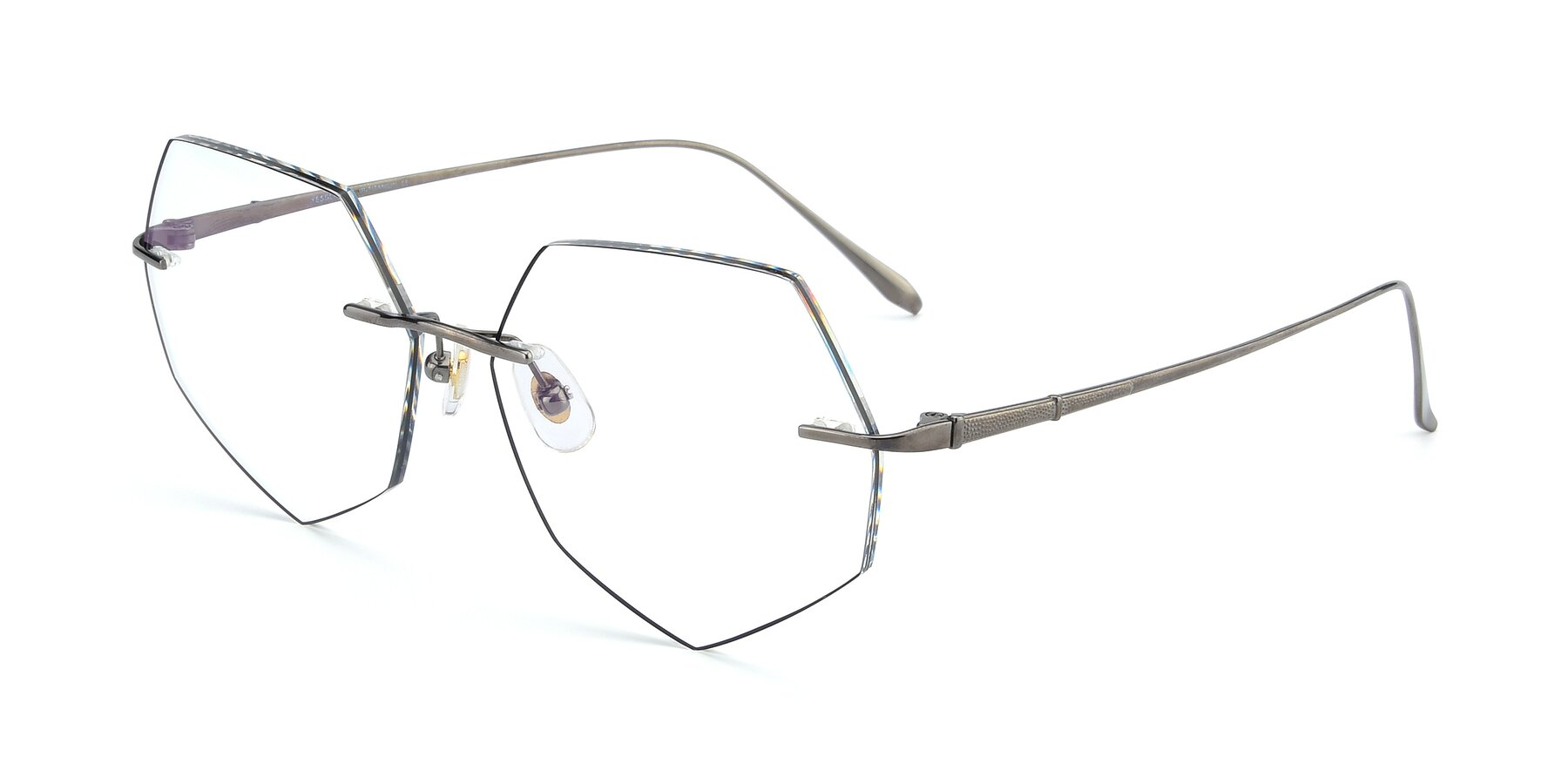 Angle of Y7019 in Gun-Black with Clear Eyeglass Lenses