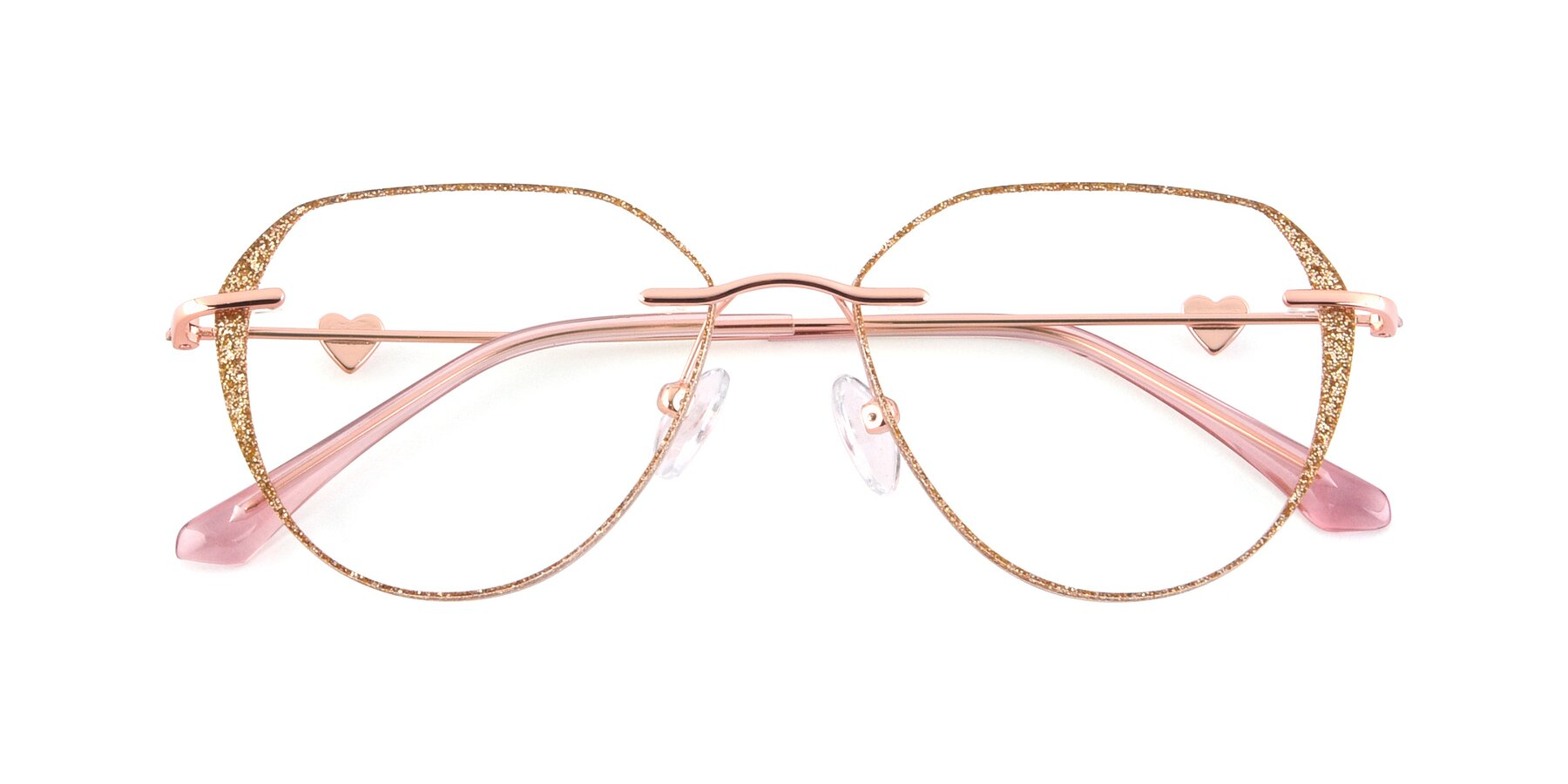 Folded Front of Ketty in Rose Gold-Gold with Clear Blue Light Blocking Lenses