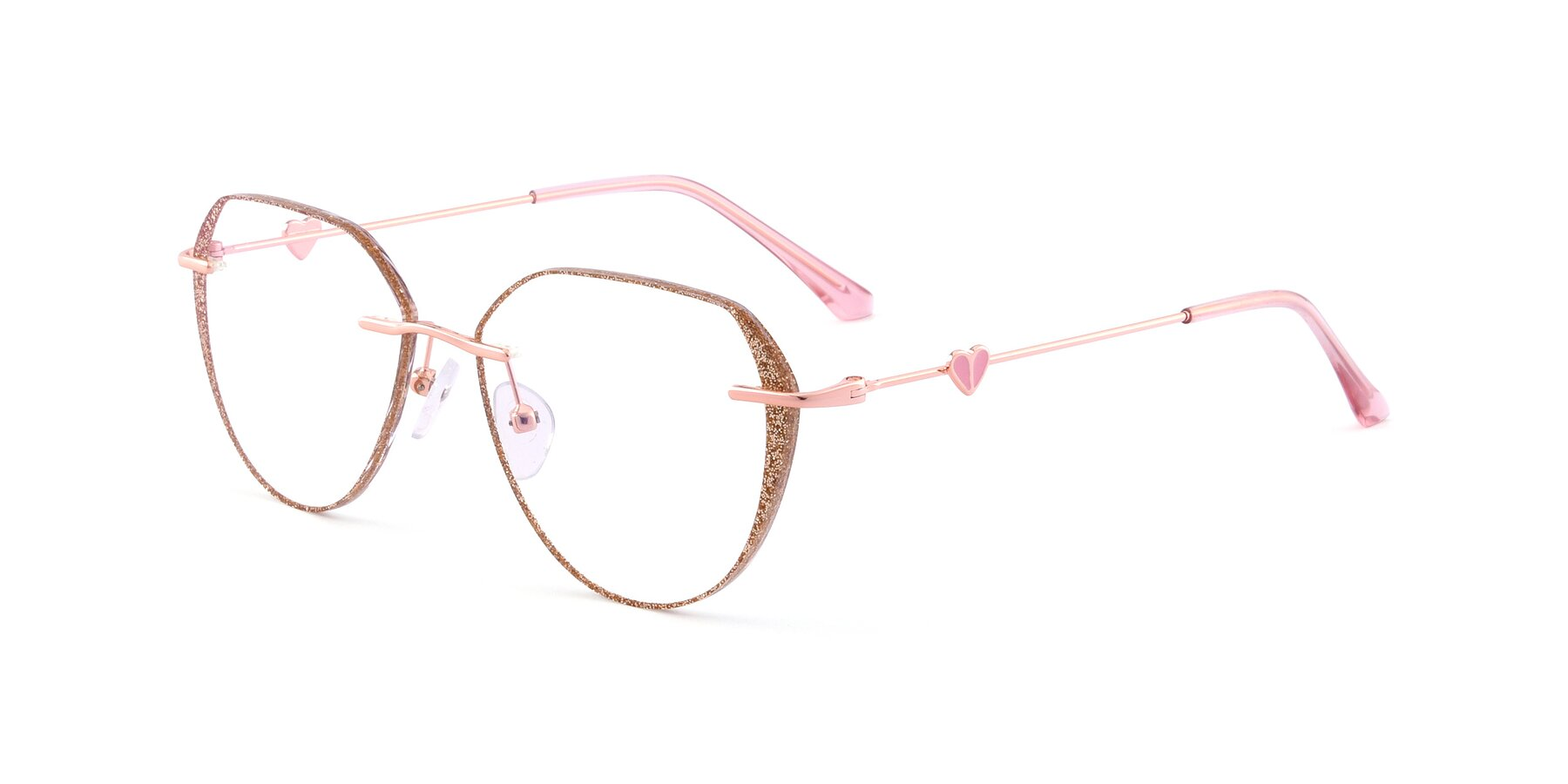 Angle of Ketty in Rose Gold-Gold with Clear Blue Light Blocking Lenses