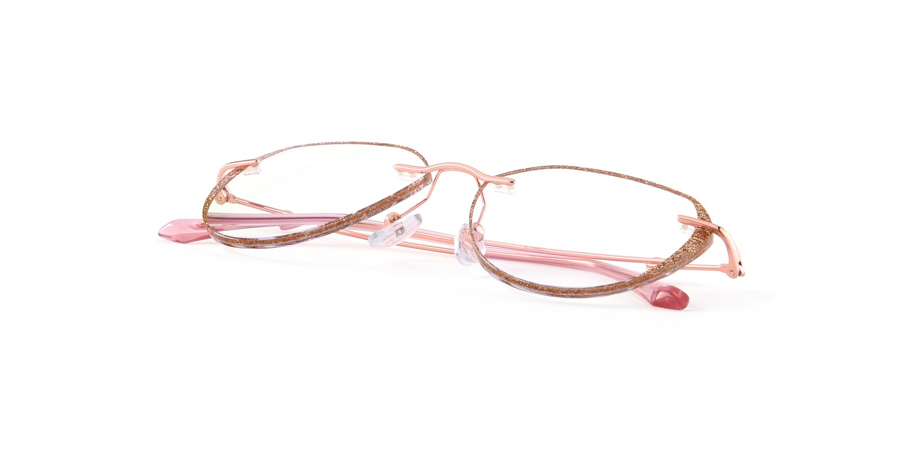 View of Ketty in Rose Gold-Gold with Clear Blue Light Blocking Lenses