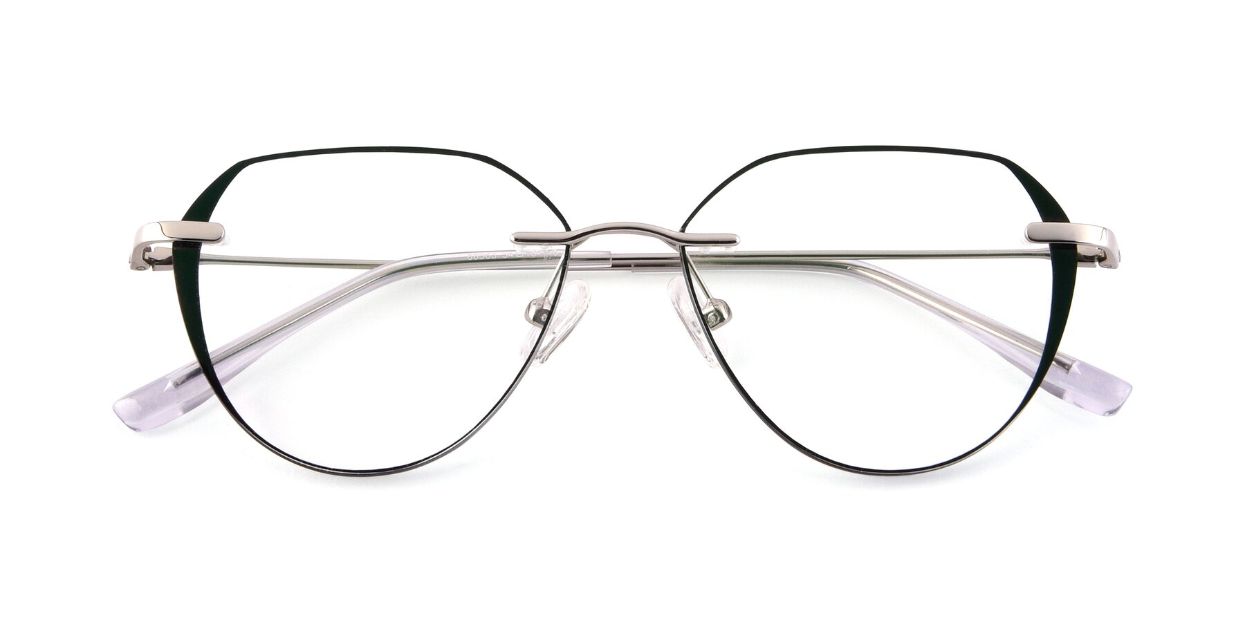 Folded Front of 88563 in Silver-Black with Clear Eyeglass Lenses