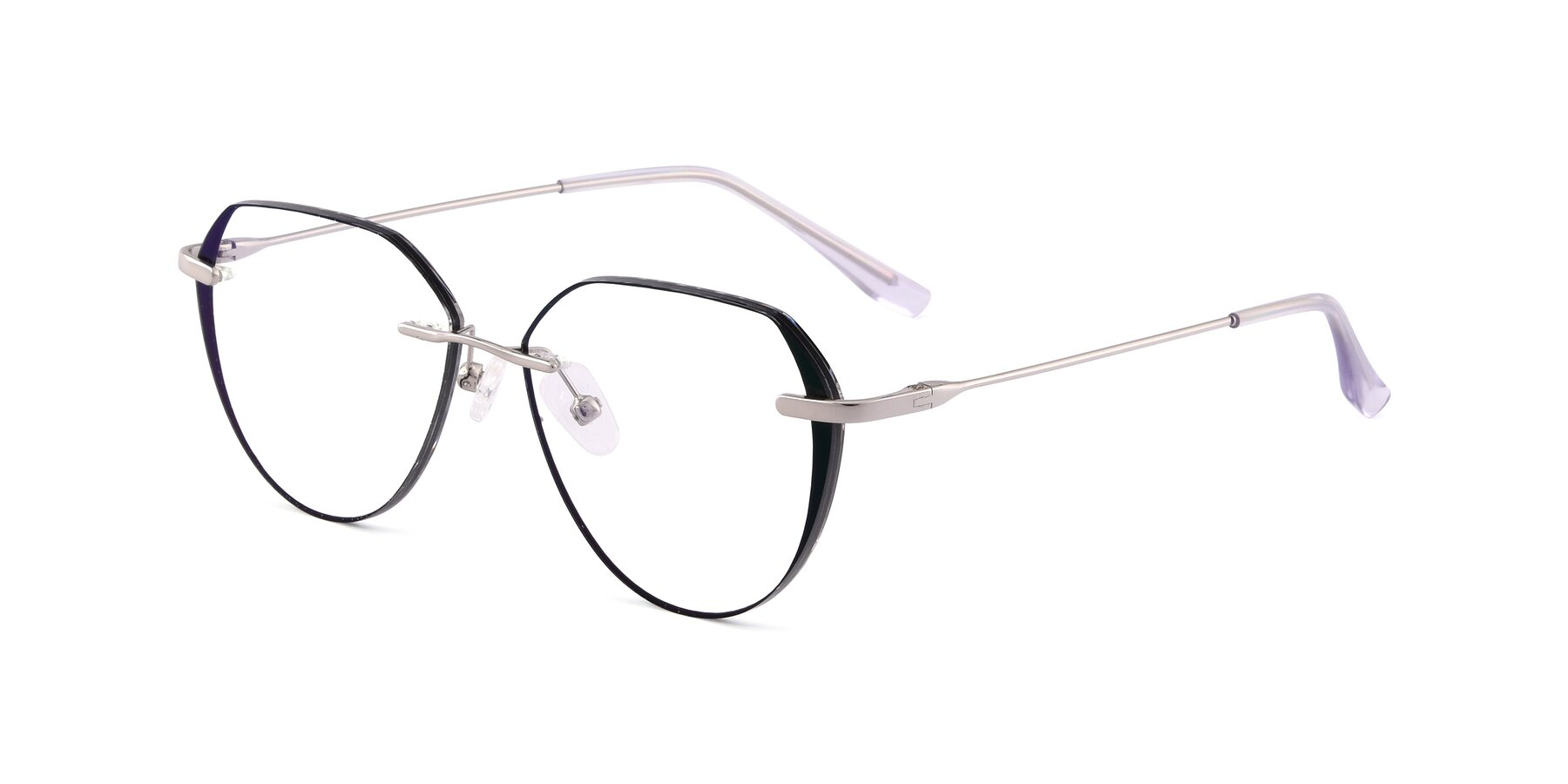Angle of 88563 in Silver-Black with Clear Eyeglass Lenses
